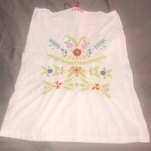 Free people embroidered white cotton skirt Medium